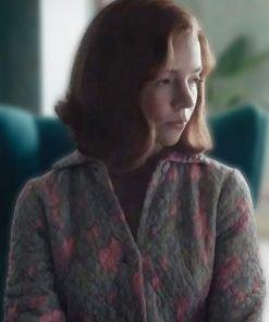 The Queen's Gambit Beth Harmon Grey Quilted Coat