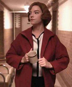 The Queen's Gambit Beth Harmon Red Trench Coat