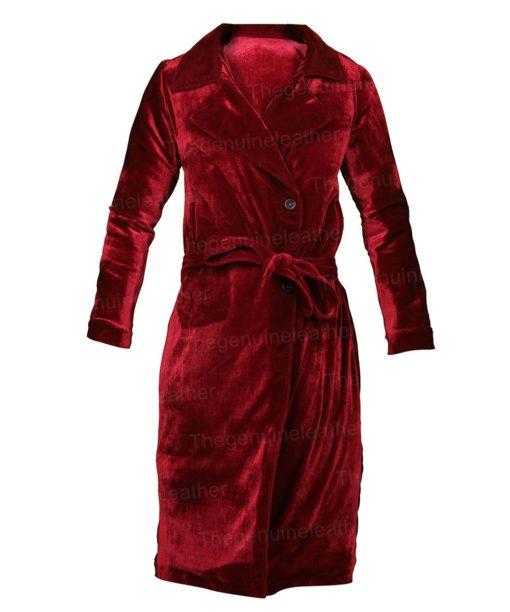 The Undoing Nicole Kidman Maroon Velvet Trench Coat