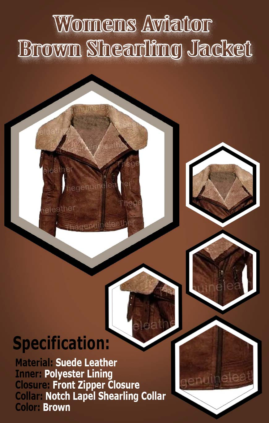 Womens Aviator Brown Shearling Jacket