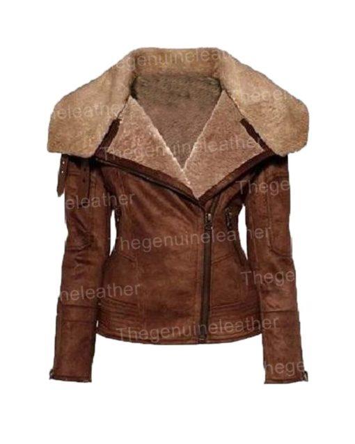 Womens Aviator Shearling Jacket