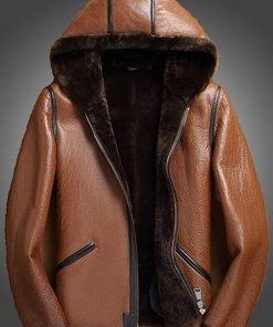 Mens Brown Leather Hooded Jacket
