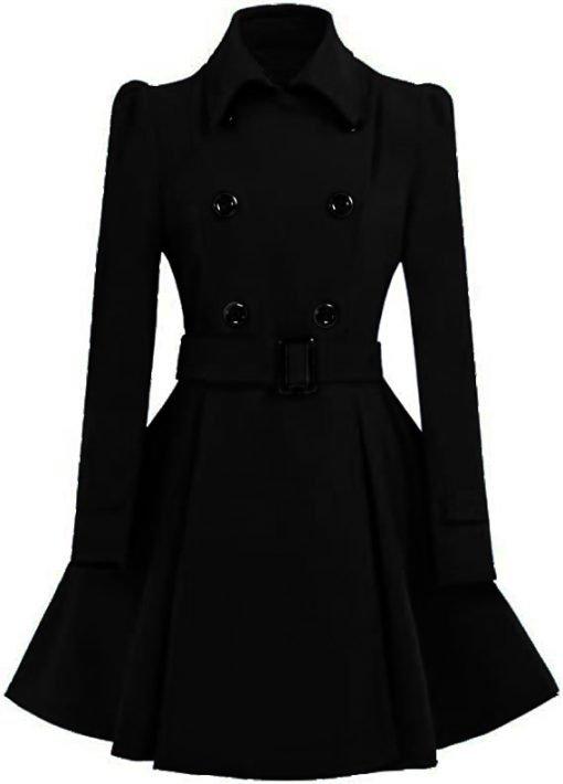Womens Black Swing Pea Coat