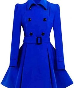 Womens Blue Swing Pea Coat