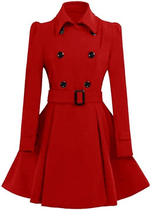 Womens Red Swing Pea Coat