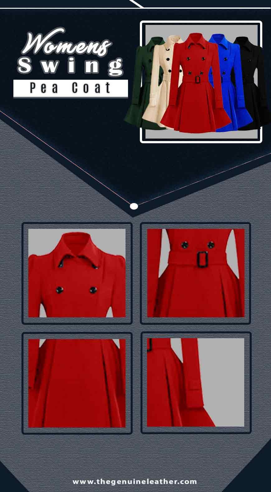 Womens Swing Pea Coat Infographic