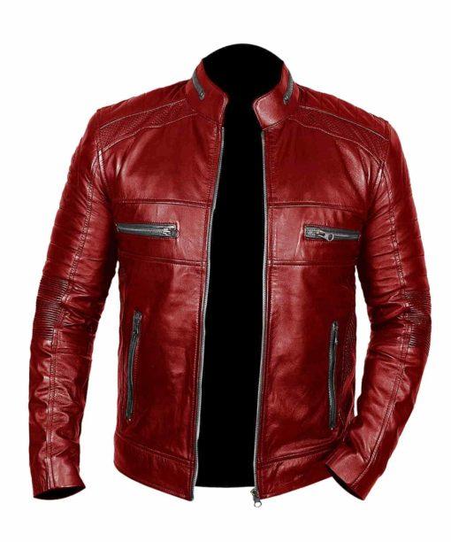 Men Johnson Leather Red Jacket