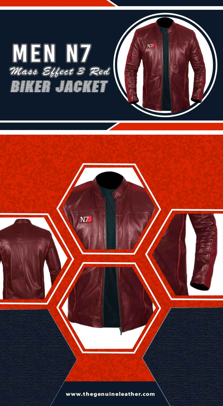 Men N7 Mass Effect 3 Red Biker Jacket