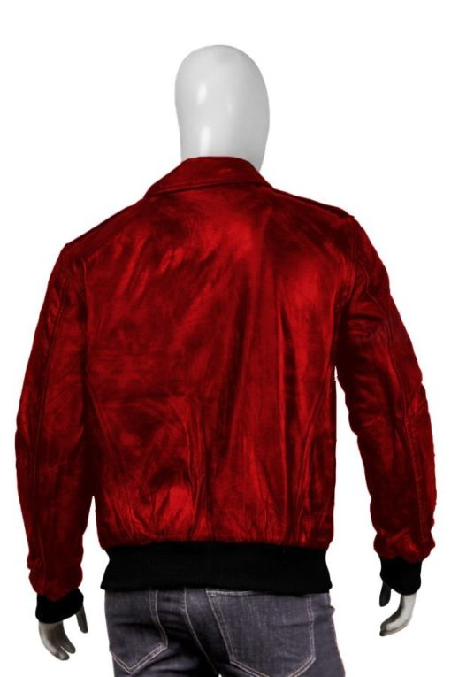 Mens Red Bomber Leather Jacket