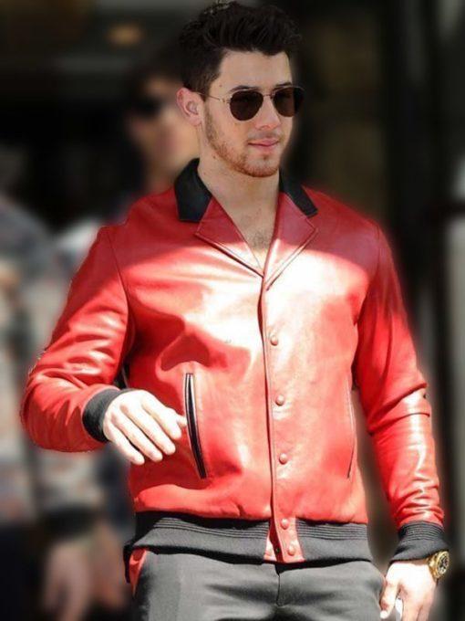 Nick Jonas Bomber Red Jacket