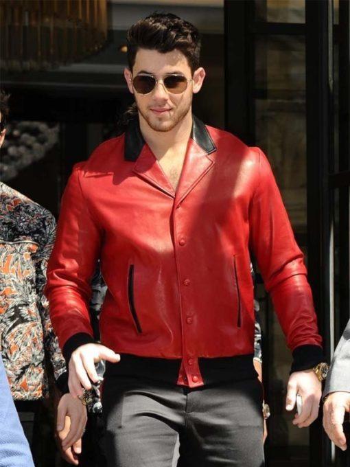 Nick Jonas Red Bomber Jacket