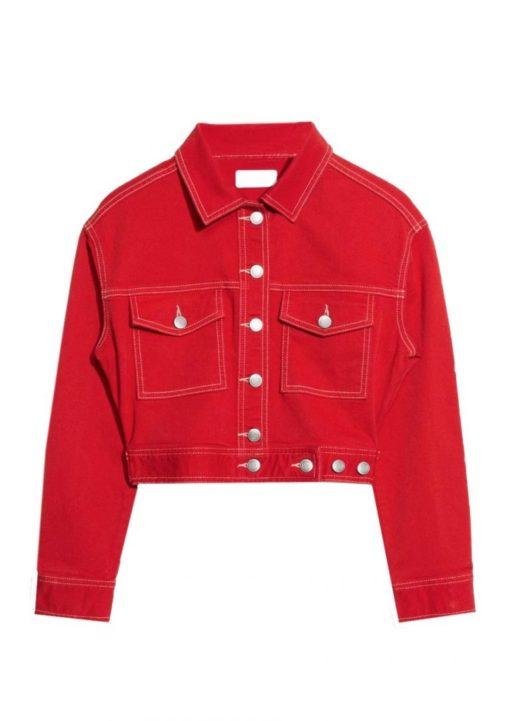 Womens Denim Red Jacket