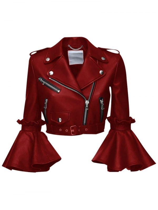 Womens Stylish Lambskin Cropped Jacket