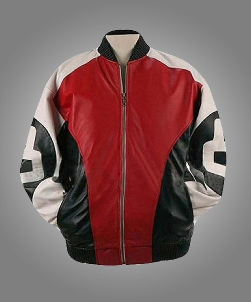 8 Ball Logo Men's Leather Bomber Jacket