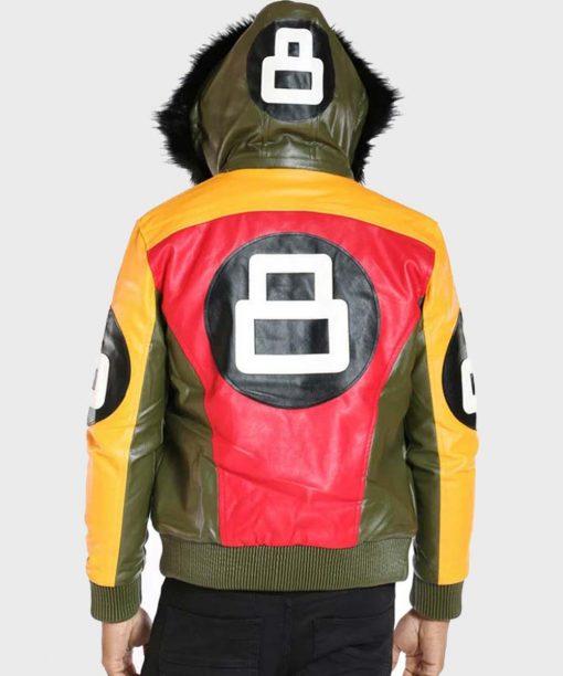 Men's 8 Ball Fur Hooded Leather Bomber Jacket