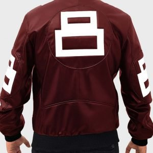 Men's 8 Ball Maroon Leather Bomber Jacket