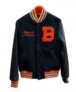 Mens Black Resistance Letterman Jacket