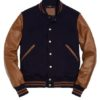 Mens Blue & Brown Varsity Jacket