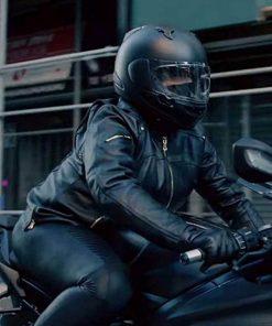 The Equalizer Queen Latifah Black Leather Biker Jacket