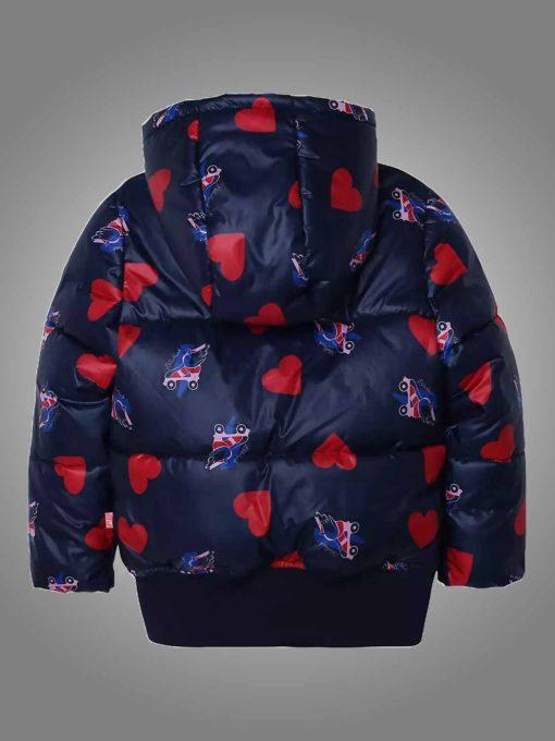 Women's Heart & Rollerblade Print Hooded Puffer Jacket