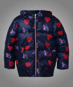 Women's Heart & Rollerblade Print Puffer Jacket