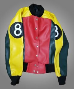 Women's Stylish 8 Ball Pool Leather Bomber Jacket