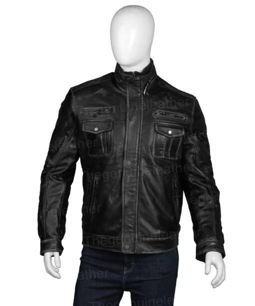 Cafe Racer Black Leather Biker Jacket