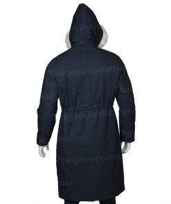 Womens Parka Blue Coat With Fur Hood