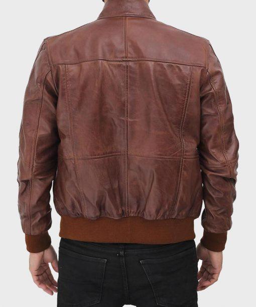 Men Brown Biker Bomber Leather Jacket