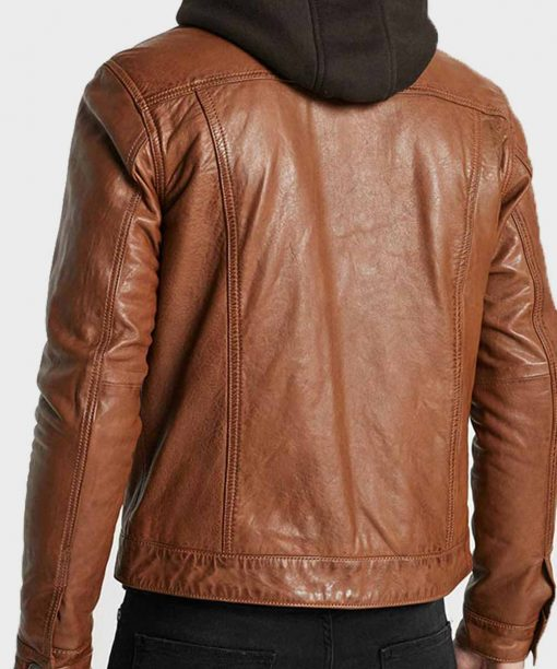 Men Stylish Brown Leather Jacket