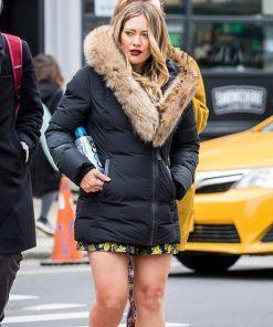 Younger Hilary Duff Black Fur Jacket