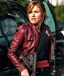 Chicago P.D. Erin Lindsay Maroon Leather Jacket
