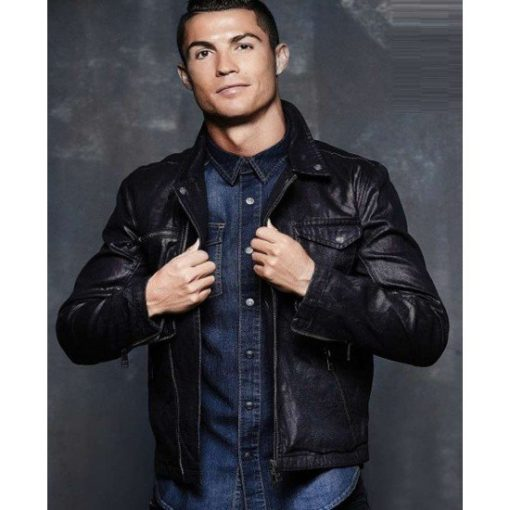 Cristiano Ronaldo Black Leather Jacket