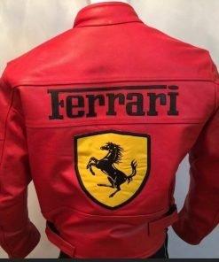 Ferrari Red Motorcycle Racing Leather Jacket