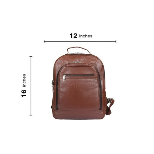 Genuine Brown Leather Backpack