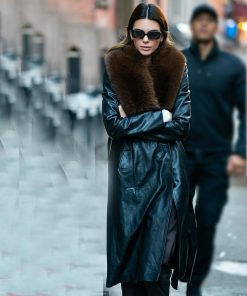 Kendall Jenner Leather Shearling Coat