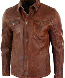 Men's Antique Brown Shirt Style Jacket