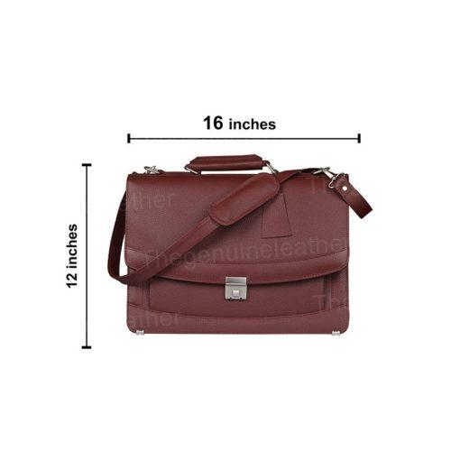 Venezia Briefcase Laptop Messenger Maroon Bag
