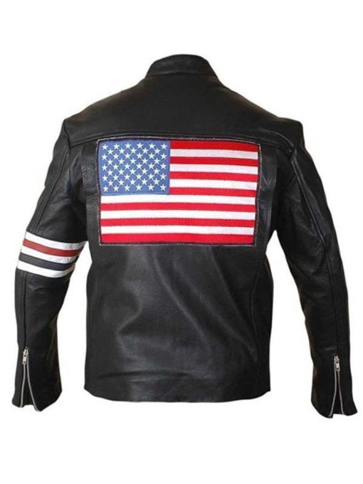America Flag Motorcycle Leather Jacket