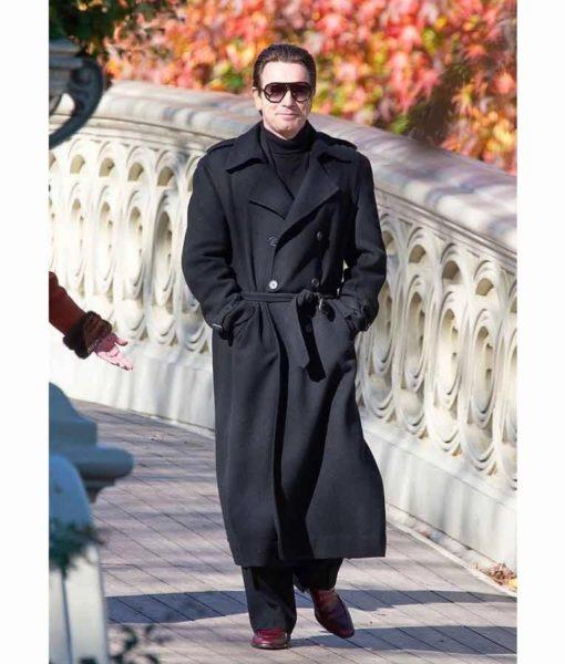 Ewan McGregor on a bridge for Halston 2021 wearing Black Wool blend Coat