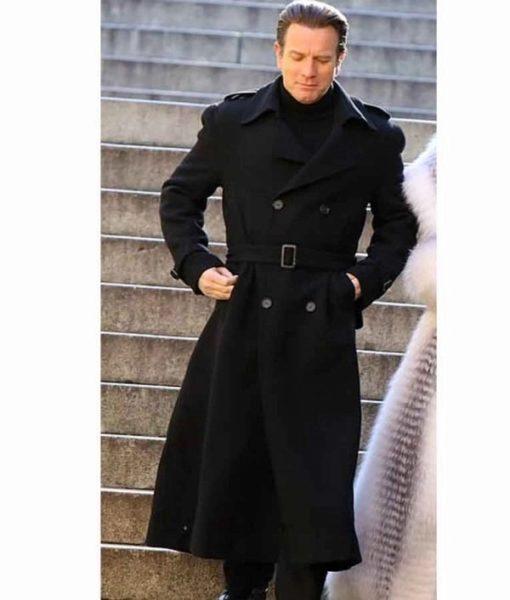 Ewan McGregor on a bridge for Halston 2021 wearing Black Wool blend Long Coat