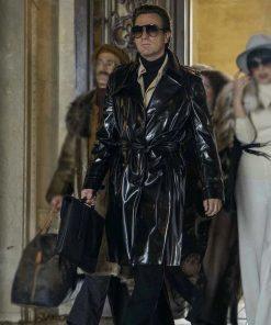 Ewan McGregor in Halston wearing Black Leather Coat with Black Glasses