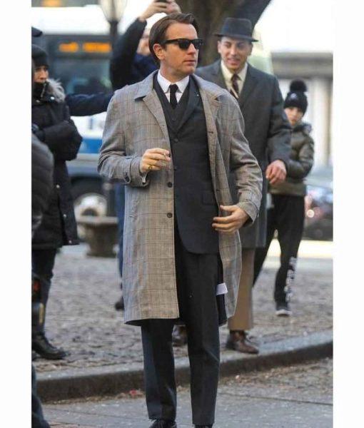 Halston 2021 Grey Checkered Coat Worn By Ewan McGregor