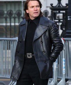 Ewan McGrego in Halston 2021 wearing Leather black Coat