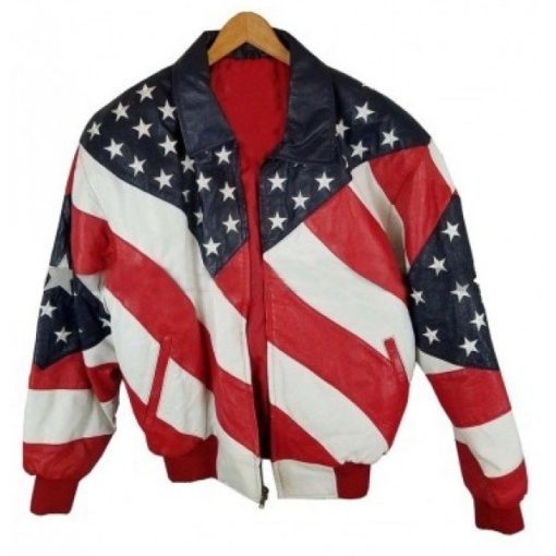 Independence Day American Flag Michae Hoban Leather Jacket with US Flag Pattern Front View