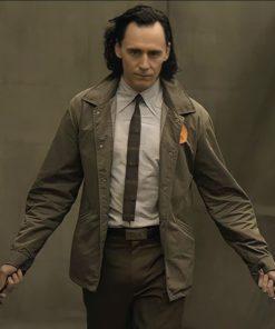 Loki Tom Hiddleston Brown Jacket With Orange Logo In Front at Top left Corner