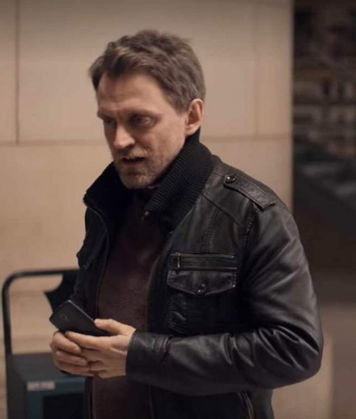 Lupin 2021 Capitaine Romain wearing Black Leather Jacket and wants fans to buy it and wear it