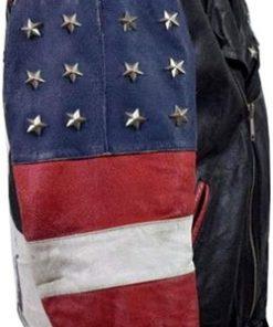 USA Flag Brando Vintage 80s Stars Studded Bomber Motorcycle Leather Jacket Sleeves