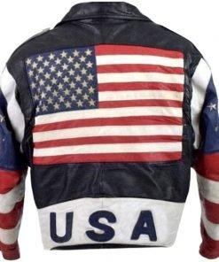 USA Flag Brando Vintage 80s Stars Studded Bomber Motorcycle Leather Jacket back