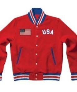 United States Red Letterman Varsity Bomber Rib Knitted Jacket Back